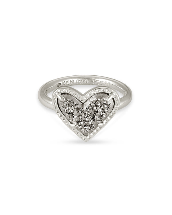 Ari Silver Heart Band Ring in Platinum Drusy