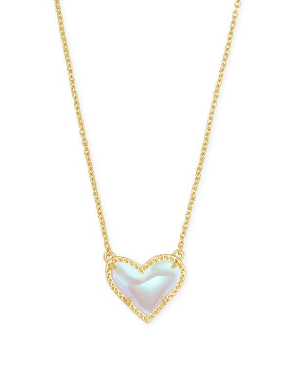 Ari Heart Short Pendant Necklace, Gold Dichroic Glass