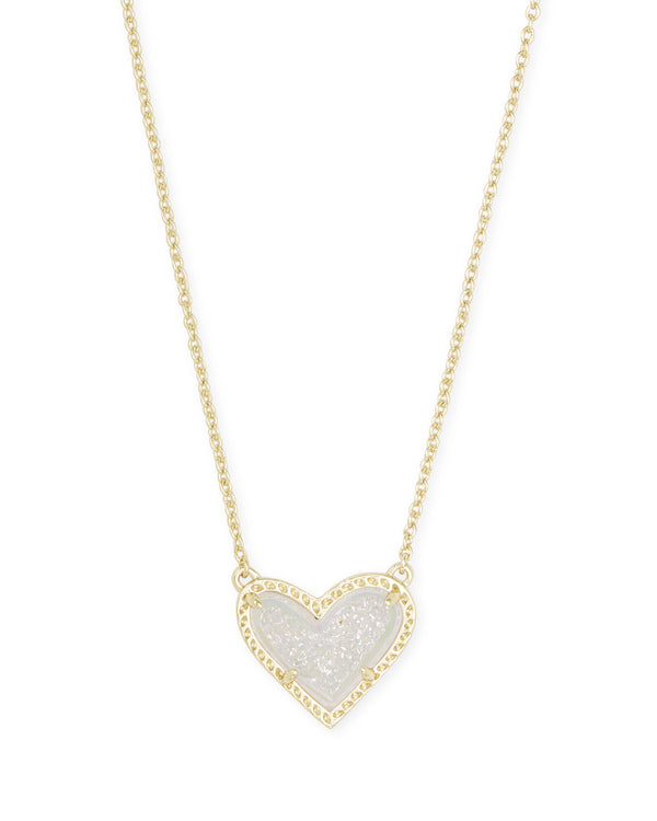 Ari Heart Short Pendant Necklace, Gold Iridescent Drusy