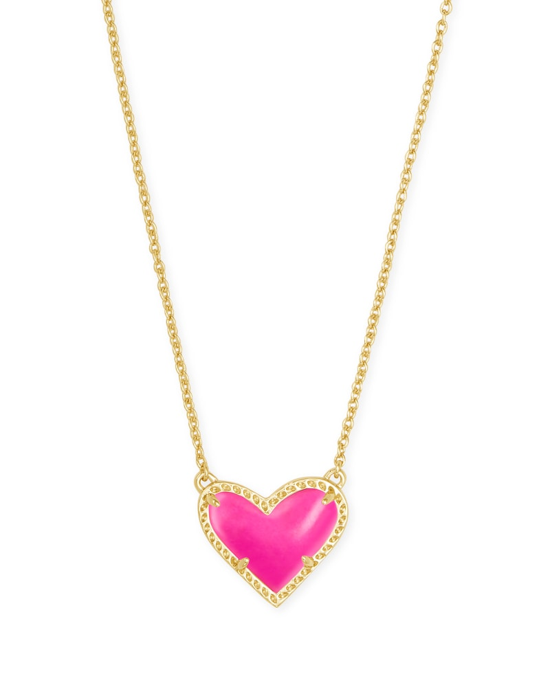 Ari Heart Gold Short Pendant Necklace, Magenta
