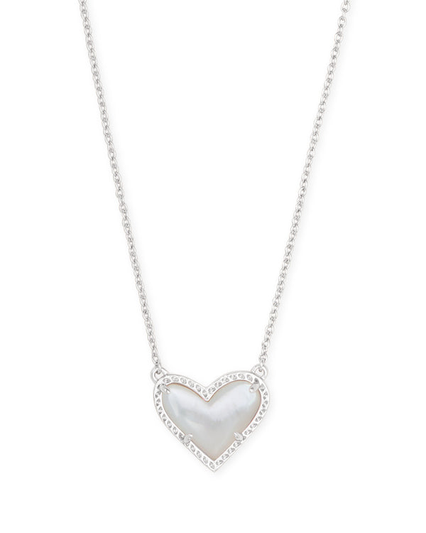 Ari Heart Short Pendant Necklace, Silver Ivory Mother of Pearl
