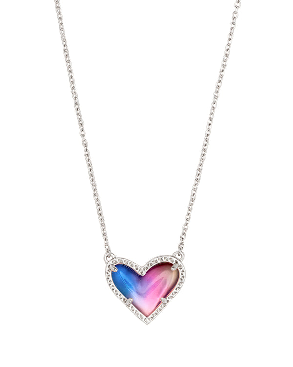 Ari Heart Short Pendant Necklace, Silver Watercolor Illusion