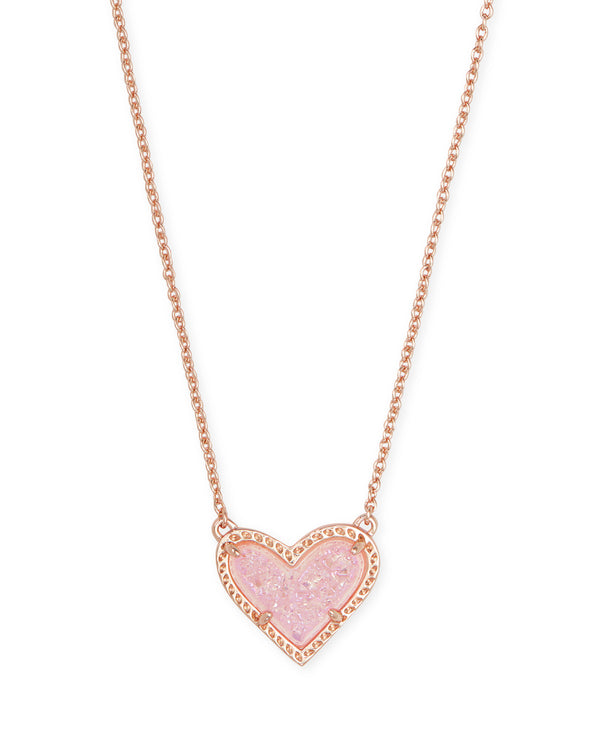 Ari Heart Short Pendant Necklace, Rose Gold Pink Drusy