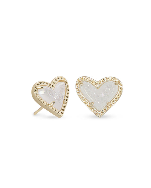 Ari Heart Stud Earrings, Gold Iridescent Drusy