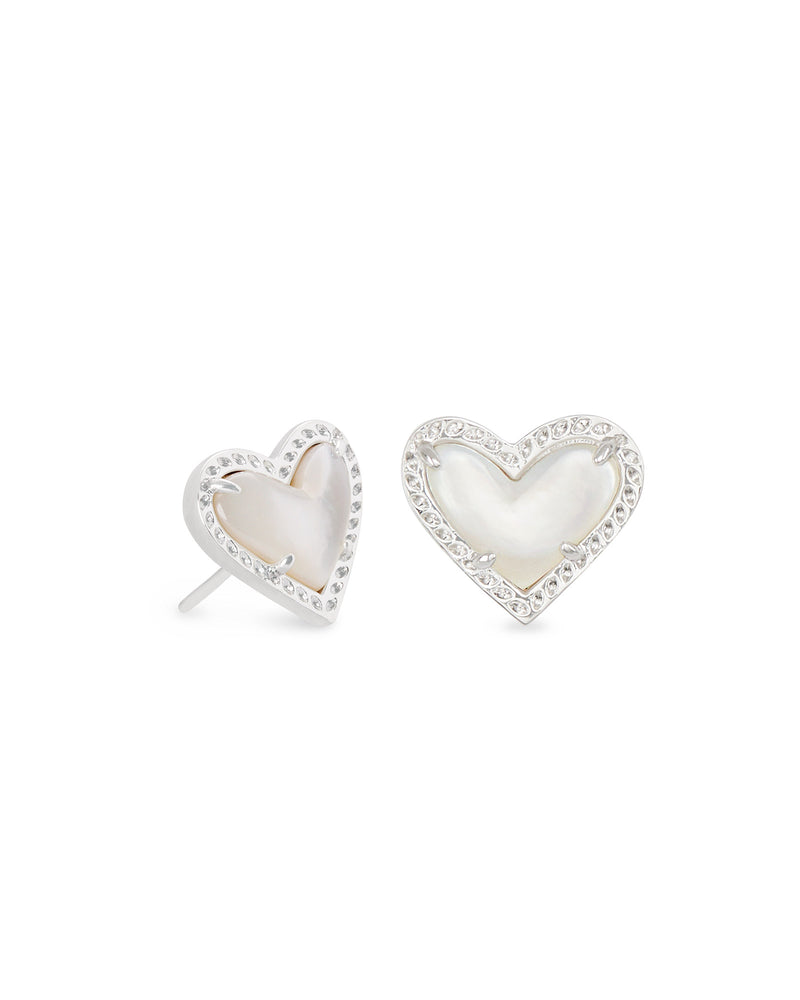 Ari Heart Stud Earrings, Silver Ivory Mother of Pearl