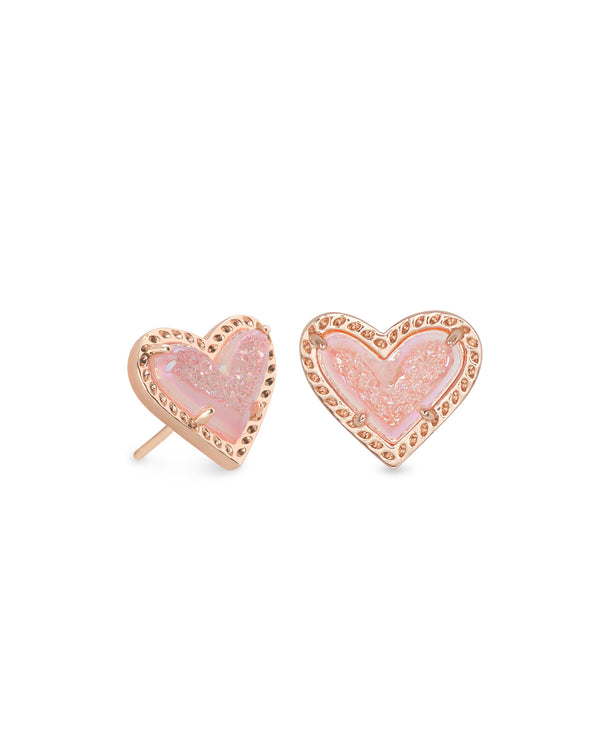 Ari Heart Stud Earrings, Rose Gold Pink Drusy