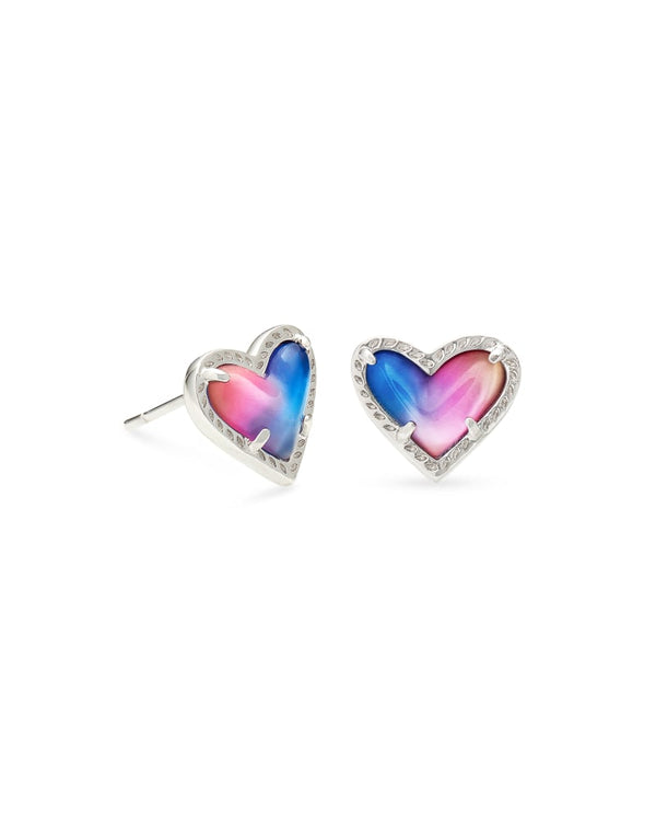 Ari Heart Stud Earrings, Watercolor Illusion