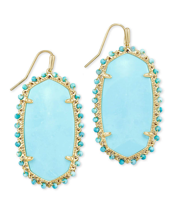 Beaded Danielle Gold Statement Earrings In Light Blue Magnesite