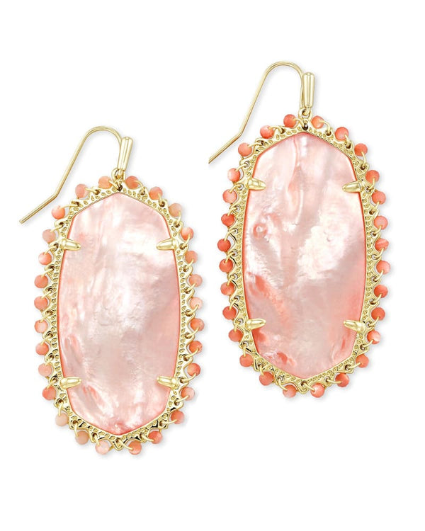 Beaded Danielle Gold Drop Earrings In Rose Mother Of Pearl