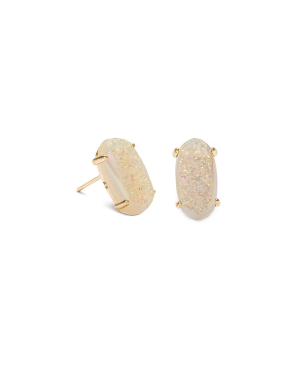 KENDRA SCOTT Betty Gold Stud Earrings - Iridescent Drusy