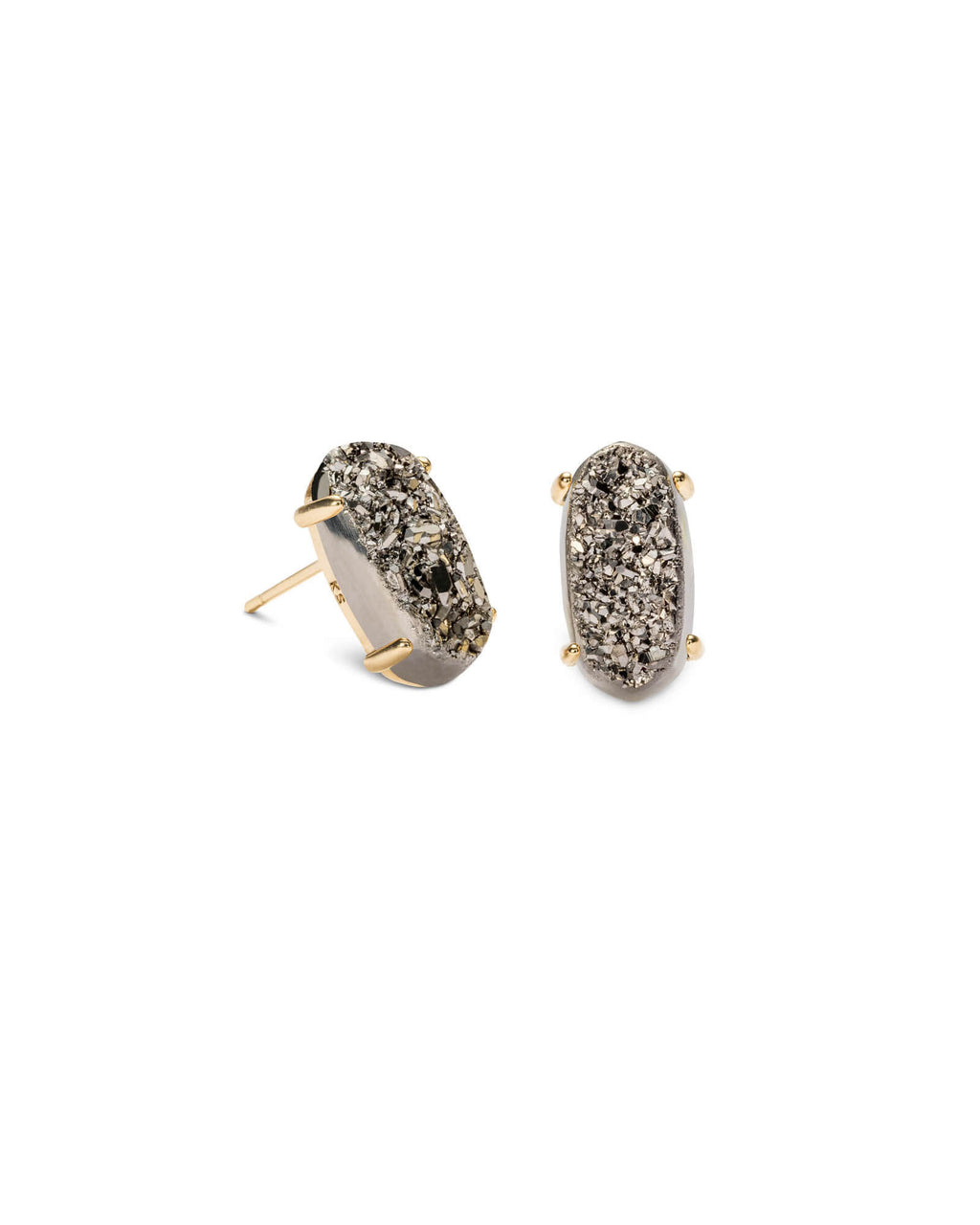 KENDRA SCOTT Betty Gold Stud Earrings - Platinum Drusy