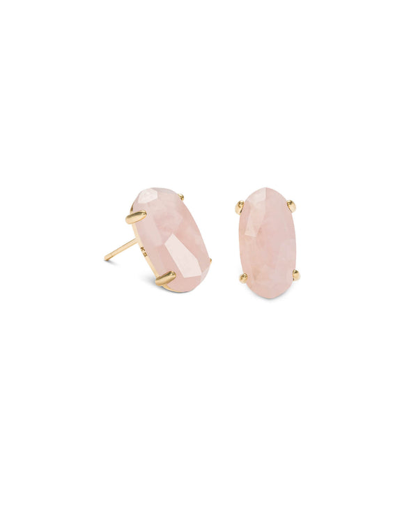 KENDRA SCOTT Betty Gold Stud Earrings - Rose Quartz