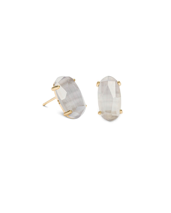 KENDRA SCOTT Betty Gold Stud Earrings - Slate Cat Eye