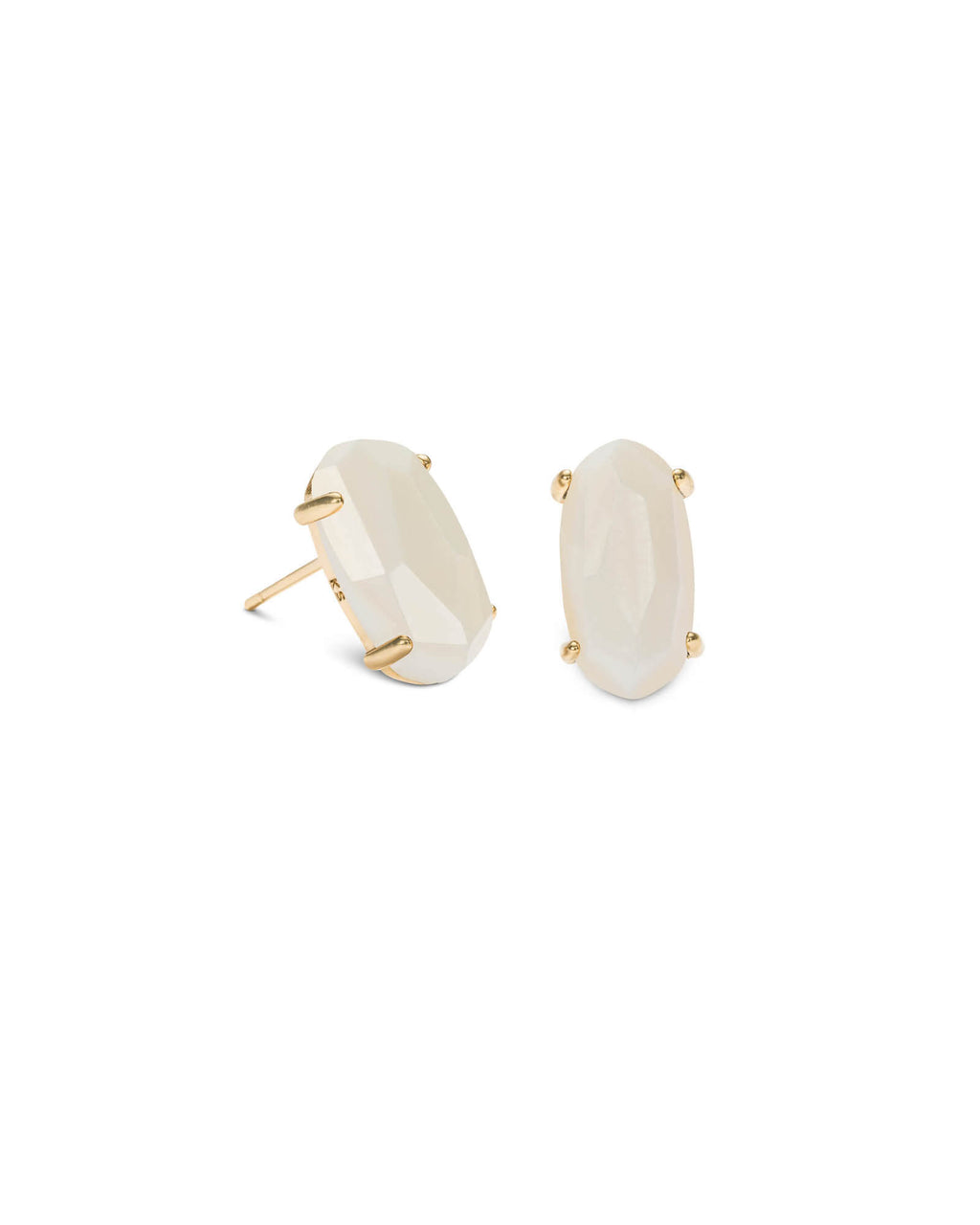 KENDRA SCOTT Betty Gold Stud Earrings - White Mother of Pearl
