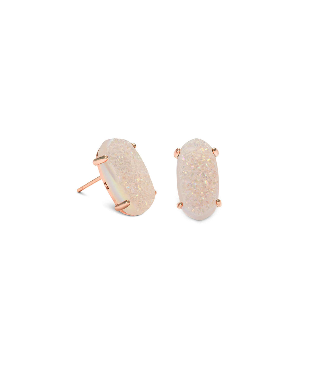 KENDRA SCOTT Betty Rose Gold Stud Earrings - Iridescent Drusy