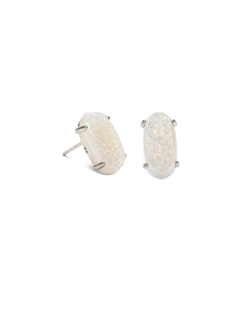 KENDRA SCOTT Betty Silver Stud Earrings - Iridescent Drusy
