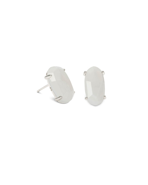 KENDRA SCOTT Betty Silver Stud Earrings - White Mother of Pearl