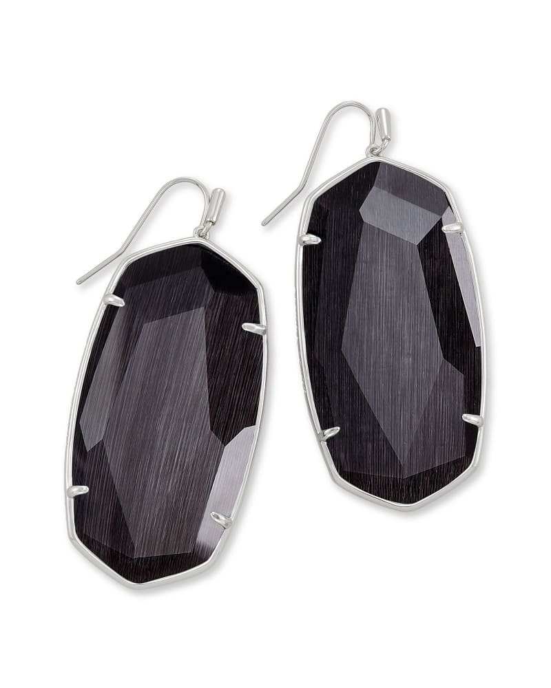 Faceted Danielle Silver Statement Earrings, Black Cat's Eye