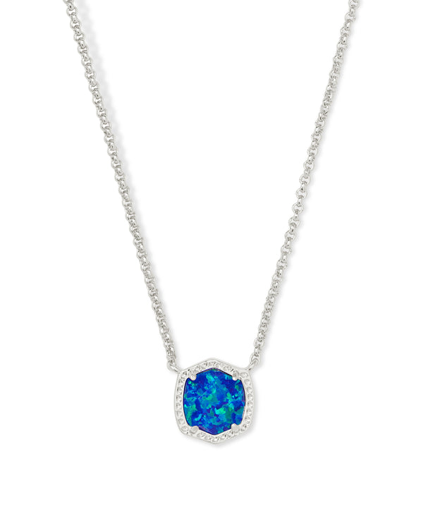 Davie Silver Short Pendant Necklace in Royal Blue Opal