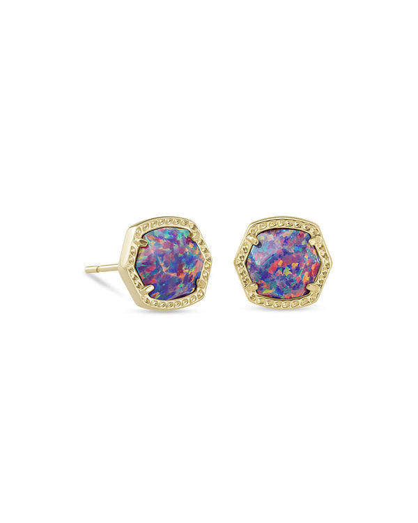 Davie Gold Stud Earrings in Lavender Opal