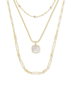 Davis Gold Triple Strand Necklace in Ivory Mother of Pearl