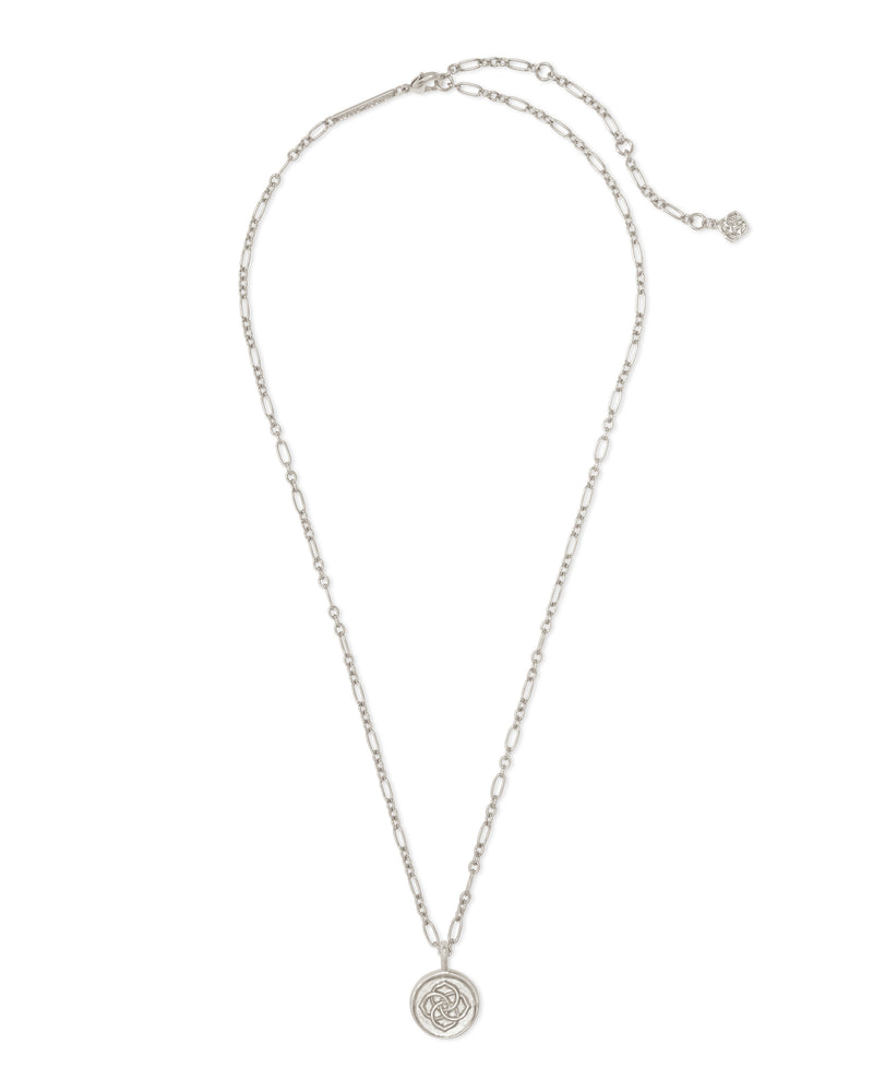 Dira Coin Pendant Necklace, Rhodium
