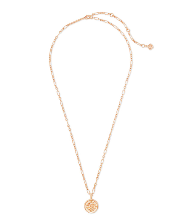 Dira Coin Pendant Necklace, Rose Gold