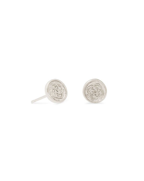 Dira Coin Stud Earring, Rhodium