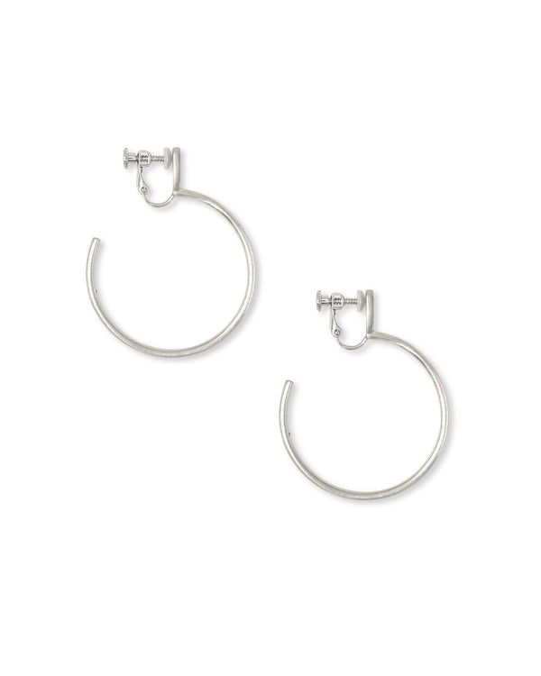 Small Pepper Clip On Hoop Earrings In Bright Silver