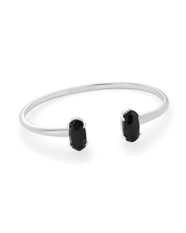 Edie Silver Cuff Bracelet In Black Opaque Glass