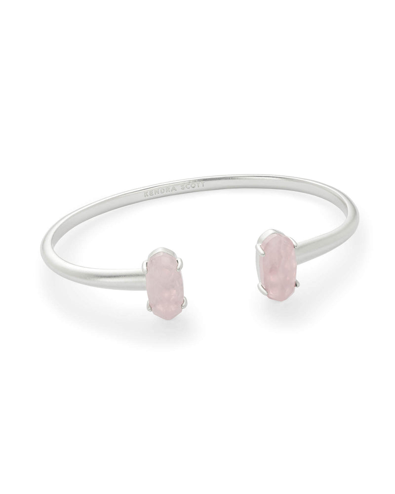 Edie Silver Cuff Bracelet In Rose Quartz