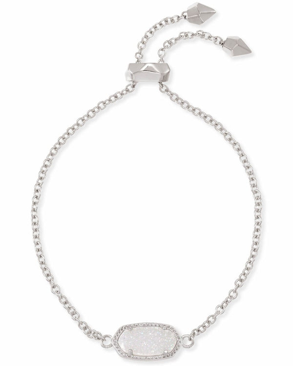 Elaina Silver Adjustable Chain Bracelet In Iridescent Drusy