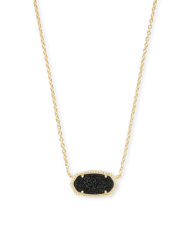 KENDRA SCOTT Elisa Gold Pendant Necklace In Black Drusy