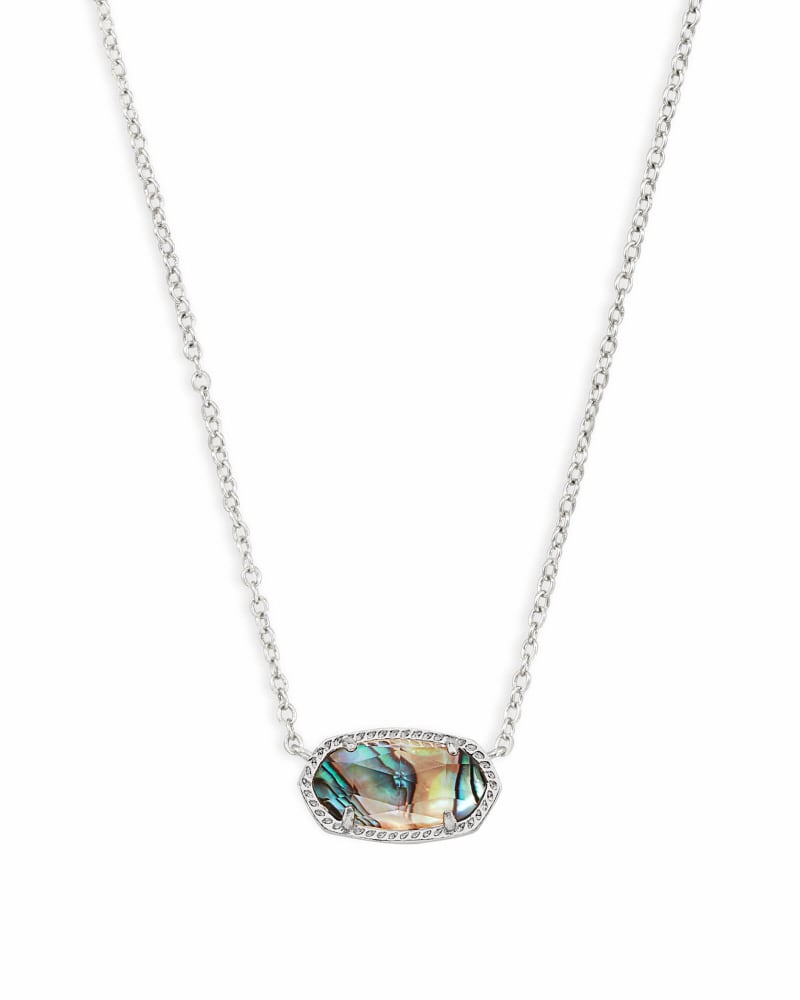 Elisa Silver Pendant Necklace in Abalone Shell