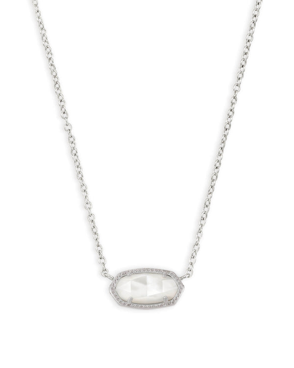 Elisa Silver Short Pendant Necklace In Ivory Mother-Of-Pearl
