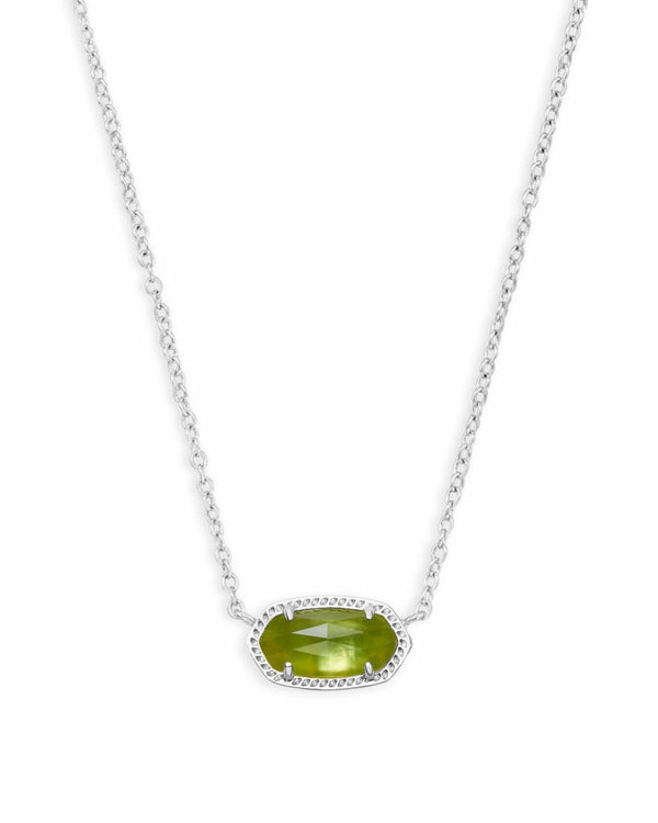 Elisa Silver Pendant Necklace in Peridot Illusion