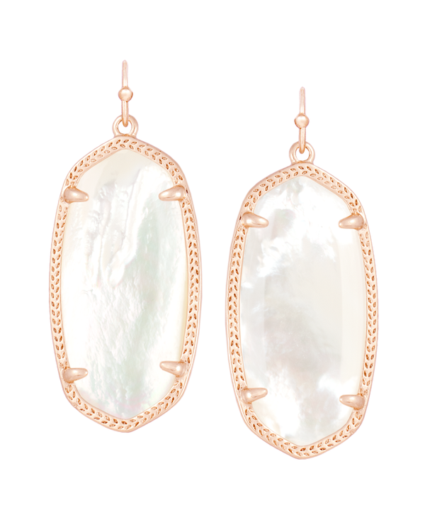 KENDRA SCOTT Elle Rose Gold Earrings in Ivory Mother-of-Pearl