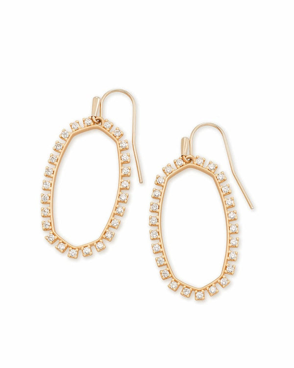 Elle Open Frame Earring, Rose Gold White CZ