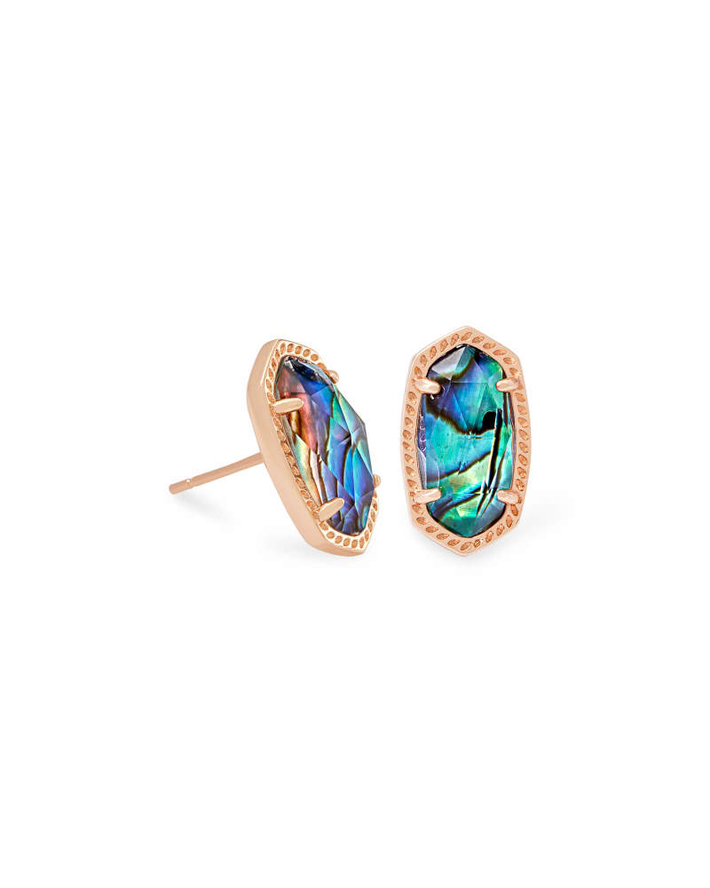 Ellie Earrings, Rose Gold Abalone