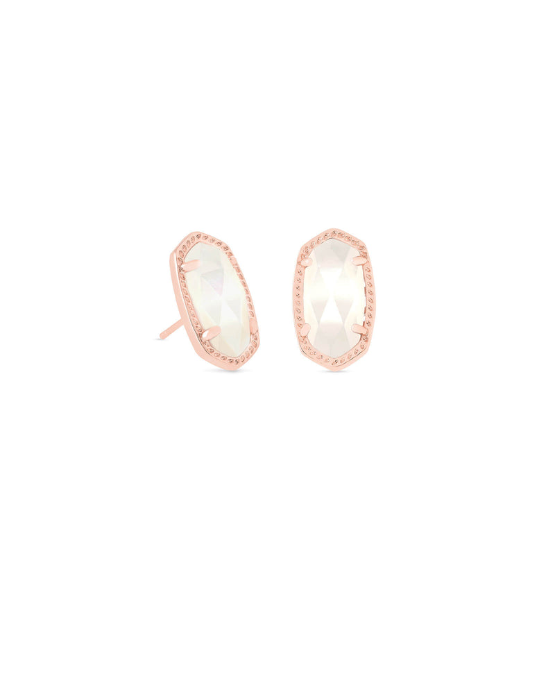 Ellie Rose Gold Stud Earrings In Ivory Pearl