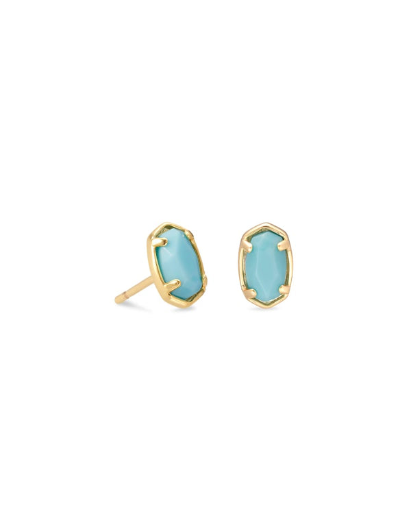 Emilie Gold Stud Earrings In Blue Magnesite