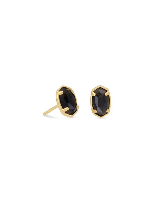 Emilie Gold Stud Earrings In Black Obsidian