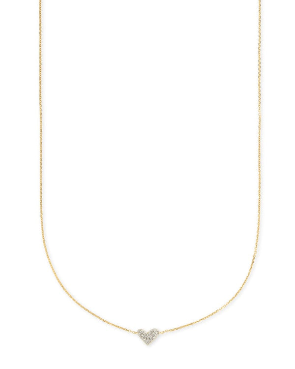 Heart 14k Gold Necklace in White Diamond