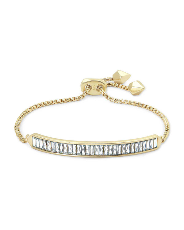Jack Gold Delicate Chain Bracelet in Clear Crystal