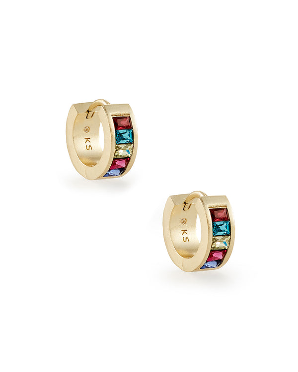 Jack Gold Huggie Earrings in Jewel Tone Mix