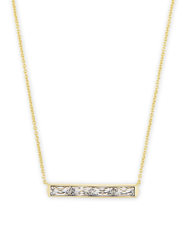 Jack Gold Short Pendant Necklace in White Crystal
