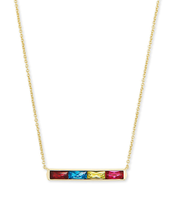 Jack Gold Short Pendant Necklace in Jewel Tone Mix