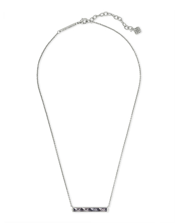 Jack Silver Short Pendant Necklace in Gray Crystal