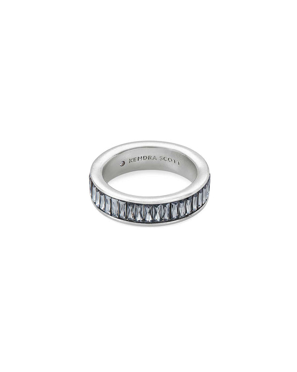Jack Band Ring In Charcoal Gray Crystal