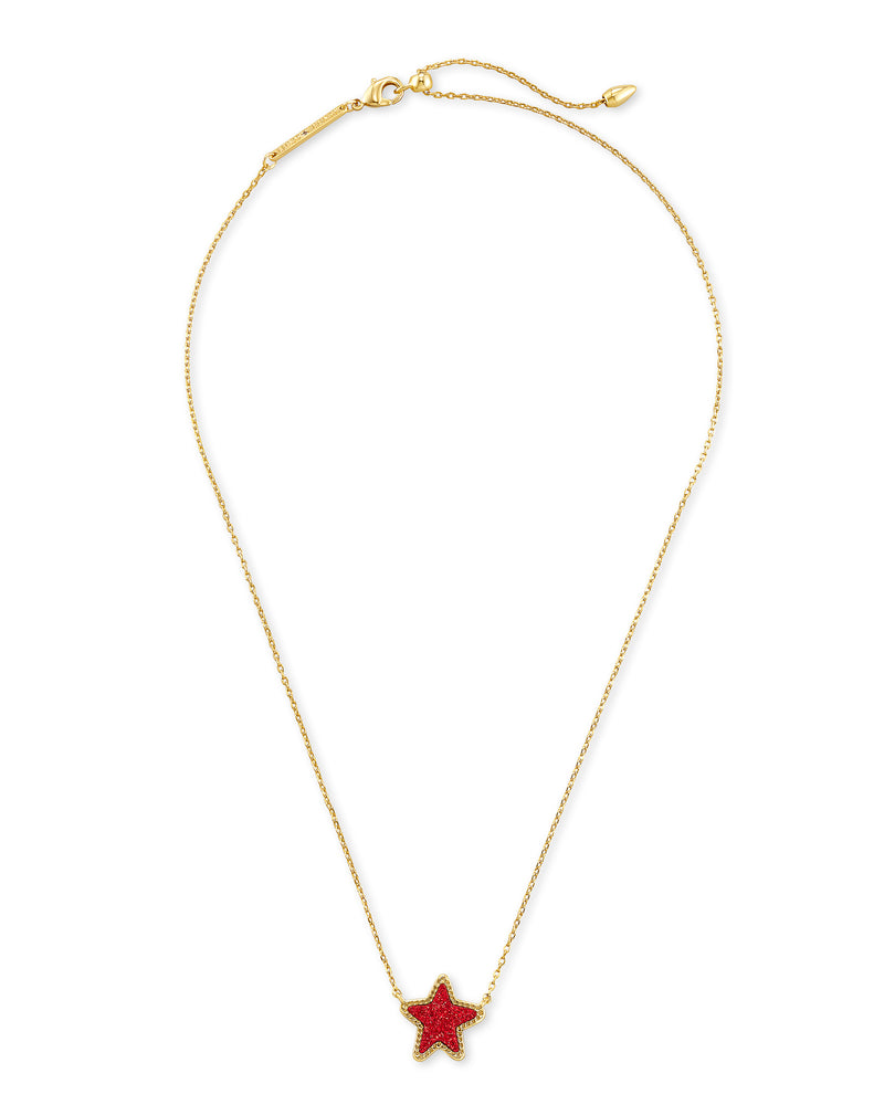 Jae Star Short Gold Pendant in Bright Red Drusy